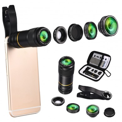 5 in 1 198 Fisheye 0.6x Wide Angle 15x Macro 12x Lens CPL Polarizer for iphone Smartphone