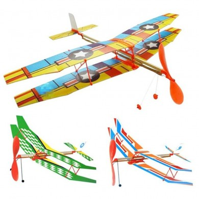 DIY Hand Throw Flying Glider Plane Toy Elastic Rubber Band Powered Airplane Assembly Model Toys