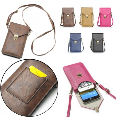 Universal Vertical Double-deck Wallet Card Solt Leather Shoulder Bag For Phone Under 6.3 Inch