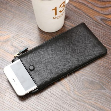 Universal Simple PU Zipper Card Slots Wallet Bag For 5.5 Inch Smartphone