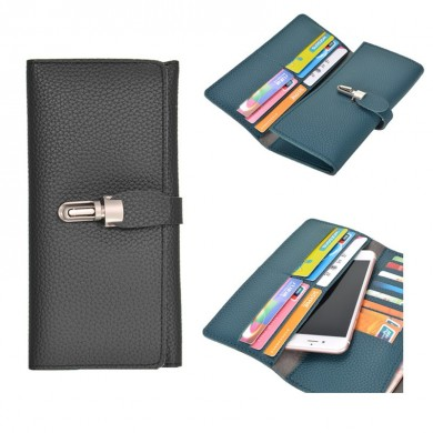 Litchi Pattern Retro Multifunctional PU Wallet Purse HandBag With Buckle For Smartphone
