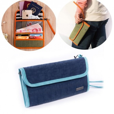 Multi-function Three Folding Canvas Traveling Pouch Handbag Phone Wallet Passport Holder