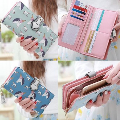 Multifunctional Women Unicorn Pattern Colorful CuteLong Wallet Phone Cover Purse Card Holder