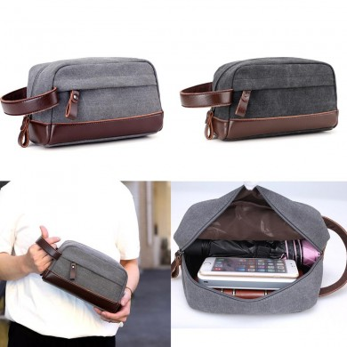 Men Travel Clutch Handbag Portable Carrying Phone Pouch Casual Canvas Wrist Bag