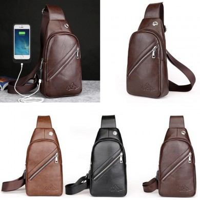 Men PU Leather Casual Travel USB Charging Shoulder Crossbody Bag for iPad Phone