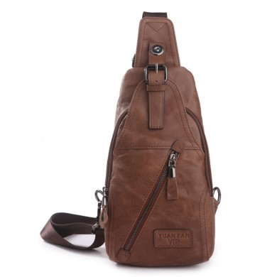 Men Casual Genuine Leather Chest Bag Business Shoulder Crossbody Bag