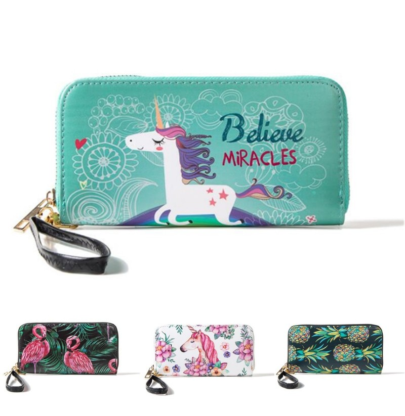 Multifunctional Unicorn Women Wallet Leather Purse Card Holder Zipper Phone Bag for iPhone Samsung (NO.: 2) фото
