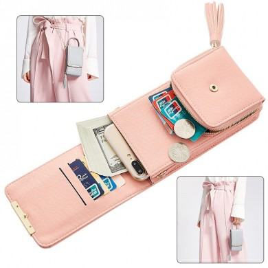 Women Large Capacity PU Leather Zipper Shoulder Bag Crossbody Bag Wallet for iPhone Xiaomi Huawei