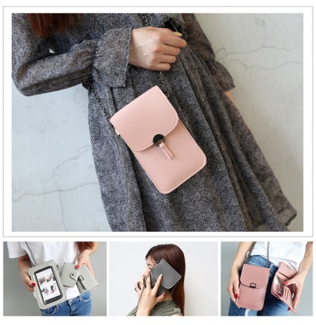 Three-piece Women PU Leather Transparent Pouch Card Holder Shoulder Bag Wallet Storage Pouch