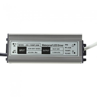 AC90-265V to DC27-38V 80W Waterproof Power Supply 2400mA LED Driver for Lighting