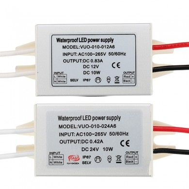 DC12V DC24V 10W Waterproof Aluminium Mini Alimentação LED Driver Transformer