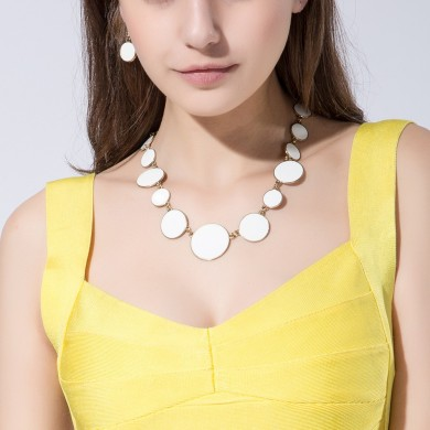 Simple Alloy White Enamel Round Flat Jewelry Set Summer New Style for Women