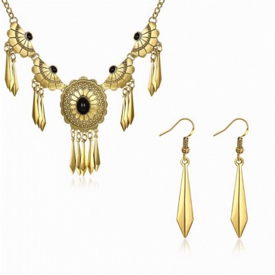 Elegant Women Statement Flower Jewelry Set Trendy Turquoise Party Jewelry for Female