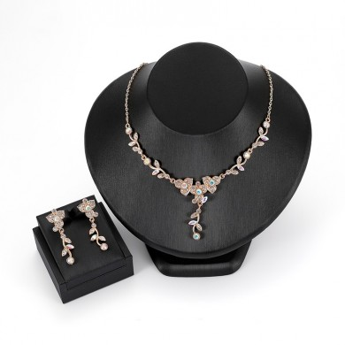 Luxury Rose Gold Bride Women Wedding Jewelry Set Colorful Rhinestone Flower Leaf Necklaces Earrings