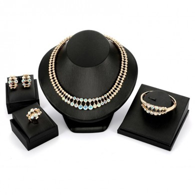 Set of Four Luxury Bridal Jewelry Set Colorful Rhinestone Gold Necklace Earrings Bracelet for Women