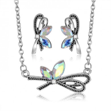 Fashion Wedding Bridal Jewelry Set Colorful Rhinestones Bowknot Necklaces Stud Earrings for Women