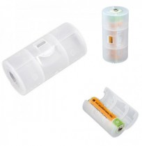 Translucent AA to C Size Battery Adaptor Holder Case Shell Cover