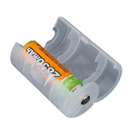Translucent AA to D Size Battery Adaptor Holder Case Shell Cover