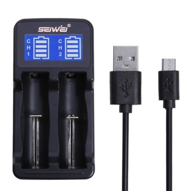SEIWEI 18650 Electric Bateria Dual Slot Charger LCD Tela