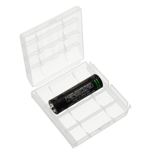 Pola Plastic Transparent White 4pcs AA AAA Battery Case Holder Storage Box