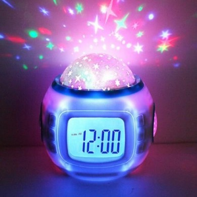 Music Star Sky Digital Clock Led Projector Alarm Clock Calendar Colorful Night Light