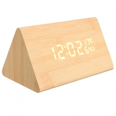 USB Voice Control Wooden Wooden Triangle Temperature LED Digital Alarm Clock Humidity Thermometer