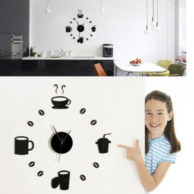 Honana DX-X3 Creative 3D Acrylic Mirror Wall Sticker Quartz Clocks Watch Large Home Decor
