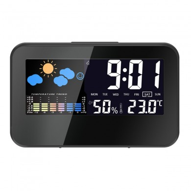 Loskii DC-002 Digital Weather Station Thermometer Hygrometer Alarm Clock Smart Sound Control Clock