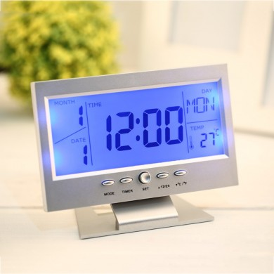 Voice Control Back-light LCD Alarm Clock Weather Monitor Calendar With Timer Sound Sensor Temperatur