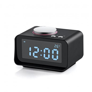 Loskii DC-14 LCD Digital Snooze FM Radio AUX In And Dual USB Charging Ports Alarm Clock