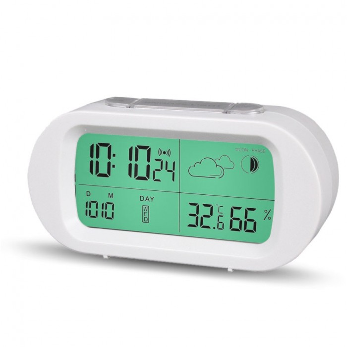 78b10854b Loskii HC-102 Digital Time Thermometer Date Weather Display Snooze Mode  Alarm Clock with LCD Screen
