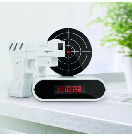 Loskii HC-100 Target 12hr Time Display Recordable Gun Alarm Clock  Infrared Target Realistic Sound E
