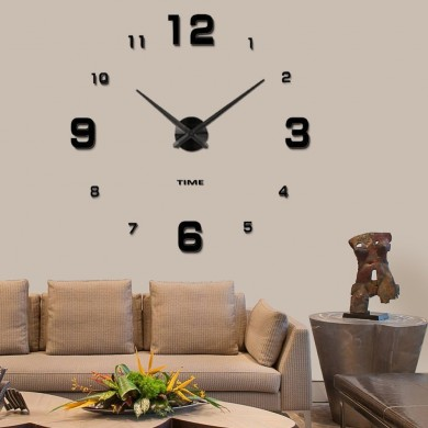 Modern Mute DIY Frameless Large Wall Clock 3d Mirror Sticker Metal Big Watches Home Office Decoratio
