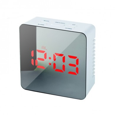 Loskii HC-29 USB Charging Digital Mirror Cube LED Night Mode Snooze Function Thermometer Alarm Clock