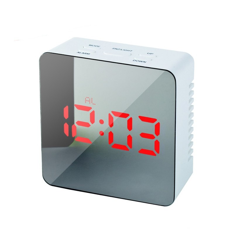 Loskii HC-29 USB Charging Digital Mirror Cube LED Night Mode Snooze Function Thermometer Alarm Clock (Color: Green, Shape: Rectangle Shape) фото