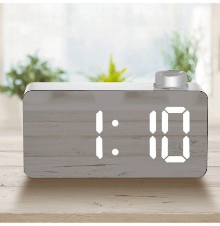 Digoo DG DM2 LED Three Colors Adjustable Display Mirror Clock Snooze Fuction Night Mode Alarm Clock