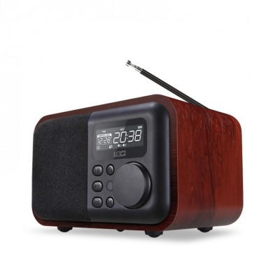 Loci Multifunction Wood Bluetooth Speaker with FM Radio Support Alarm Clock Display Time