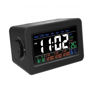 Digoo DG-C1R NF Brother Black Simplified Alarm Clock Touch Adjust Backlight with Temperature Humidit