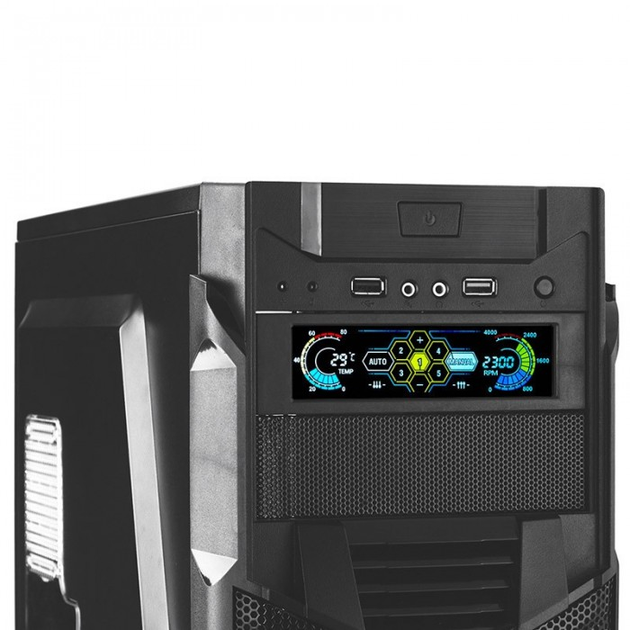 STW 5 25 inch LCD Front Panel CPU Cooling Fan Speed Controller Temperature  Monitor PC Drive Bay