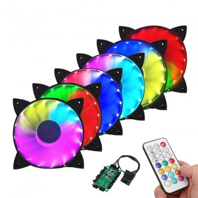 Coolman 6PCS 120mm RGB Adjustable LED Cooling Fan with Controller Remote For Computer
