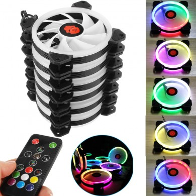 Coolman 6PCS 120mm Adjustable RGB LED Light Computer PC Case Cooling Fan with IR Remote