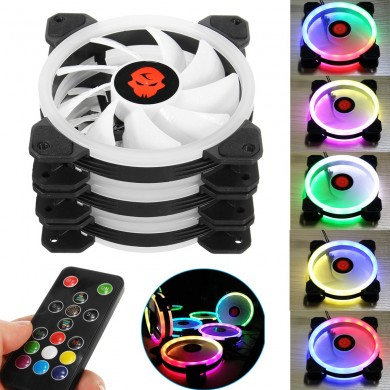 Coolman 3PCS 120mm Adjustable RGB LED Light Computer Case PC Cooling Fan with Remote