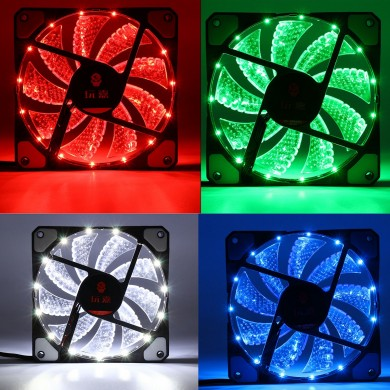 120mm 15pcs LED Light Neon PC Computer Caso CPU Cooling Fan Mod Cooler 3Pin 4Pin