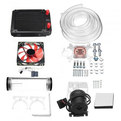 120mm DIY PC Water liquid Cooling Fan Kit Heat Sink Set CPU Block Water Pump Reservoir Hose