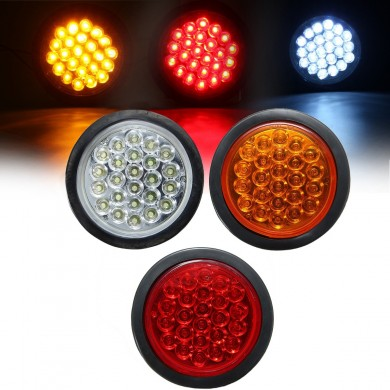 24 LED Red White Yellow Round Rear Tail Stop Light Brake Lamp Reflector for Truck Trailer Bus Boat