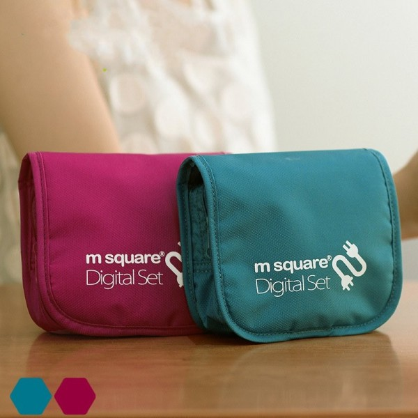 M Square Multifunctional Nylon Mesh Storage Bag Travel Digital Organizer Cable Earphone Case