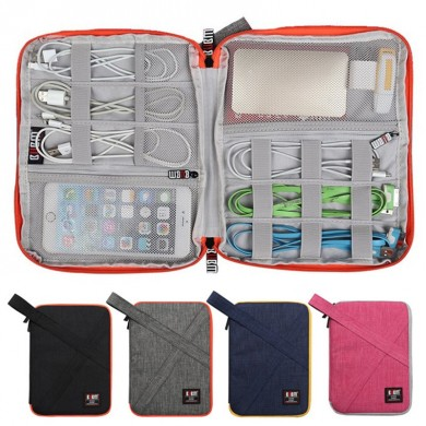 BUBM al aire libre Large Single Layer Impermeable Auricular Cable Power Bank Almacenamiento Bolsa Bolsa de recogida