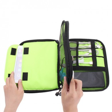 Universal Double Layers Large Capacity Data Cable Storage Bag Earphone USB Cable Organizer Bag