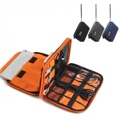 Universal Double Layers Large Capacity USB Cable Organizer Earphone Data Cable Storage Bag