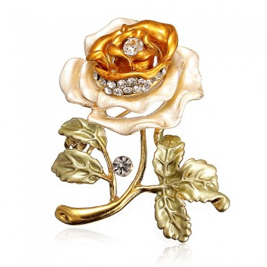Folhas de flores Crystal Rhinestone Alloy Brooch Pin Accessories